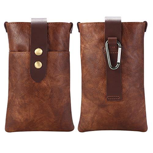 GUOQING Clips para cinturón de teléfono celular, funda para hombre, bolsa de cuero, para Samsung S20, S10e, S10, S9, S8, S7, S7Edge, S6 Edge, para iPhone SE 2020, XR XS 8, 7 6 (color: marrón)