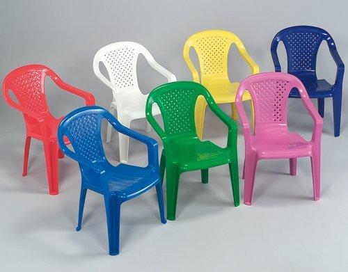 Sedia con braccioli in resina colorata per bambini - Colori assortiti set 4 pezzi