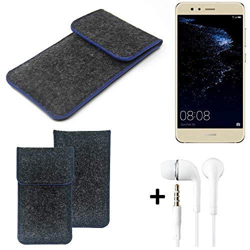 K-S-Trade Filz Schutz Hülle Für Huawei P10 Lite Dual-SIM Schutzhülle Filztasche Pouch Tasche Handyhülle Filzhülle Dunkelgrau, Blauer Rand Rand + Kopfhörer