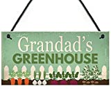 Grandad's Greenhouse Garden Shed Summerhouse Retro Vintage Wood Sign Coffee House Business Dining Room Pub 12.5 cm x 25 cm