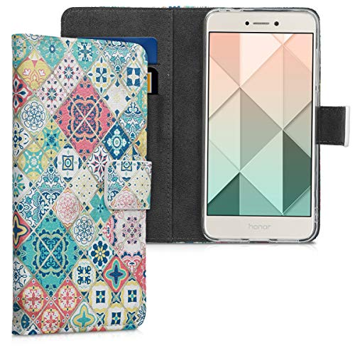 kwmobile Funda para Huawei P8 Lite (2017) - Carcasa de Cuero sintético con diseño de Azulejos - Case con Tarjetero