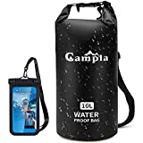 Campla Waterproof Dry Bag Backpack for Kayaking 10L, Roll Top Lightweight Floating Waterproof Bag Dry Sack w/Strap and Watertight Phone Case for Boating,Swimming,Beach, Fishing and Water Sports Black