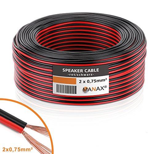 Manax – Cable de altavoz (2 x 0,75 mm²), CCA, Rojo/