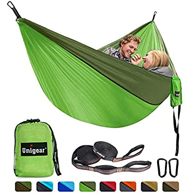 Unigear Camping Hammock Double and Single, Portable Lightweight Parachute Nylon Hammock with Tree Straps for Backpacking, Camping, Travel, Beach, Garden Fruit Green/Army Green, 320x200