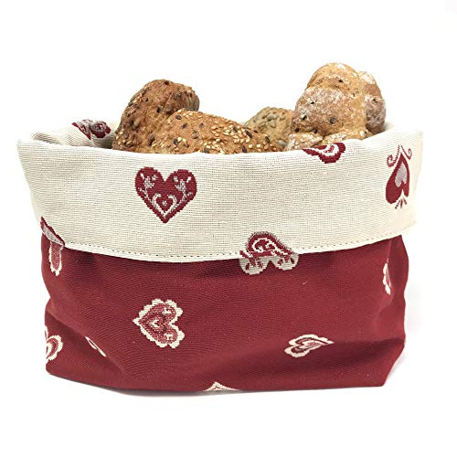 Gaidra Kosz na pieczywo – materiał – koszyk na bułki – tyrol, alpejski styl dworkowy, do przechowywania chleba i wypieków, dwustronny – wysokiej jakości wykonanie – motyw serca czerwony