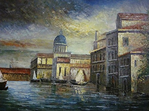 Real Hand Painted Venice Italy Gondola Canvas Oil Painting for Home Wall Art Decoration, Not a Print/ Giclee/ Poster