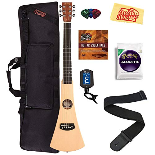 Martin Steel String Backpacker Travel Guitar Bundle with Gig Bag, Strap, Strings, Tuner, Picks, Austin Bazaar Instructional DVD, and Polishing...