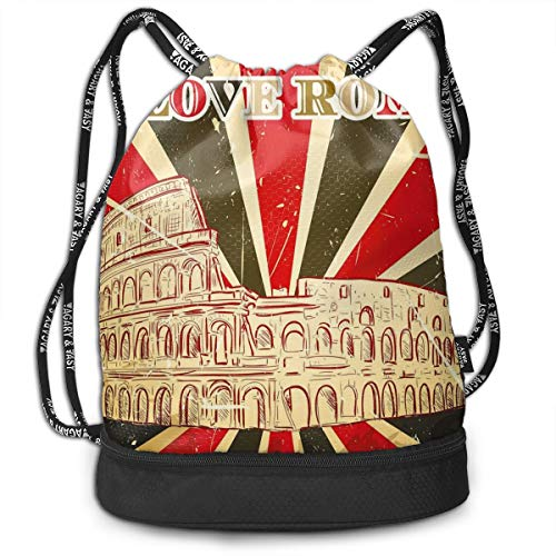 DDHHFJ Multifunctional Drawstring Backpack for Men & Women, I Love Rome Lettering with Circus Tent And Bold Stripes Ancient,Travel Bag Sports Tote Sack with Wet & Dry Compartments