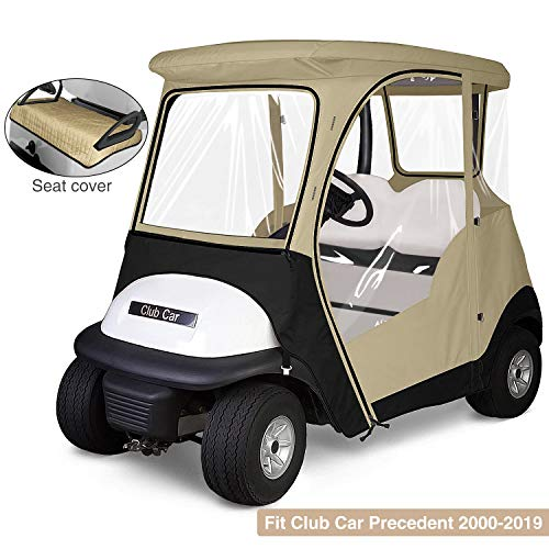 KAKIT 800D Fairway 4-Sided 2-Person Golf Cart Enclosure Custom fit Club Car Precedent 2000-2019, Free Seat Cover Included