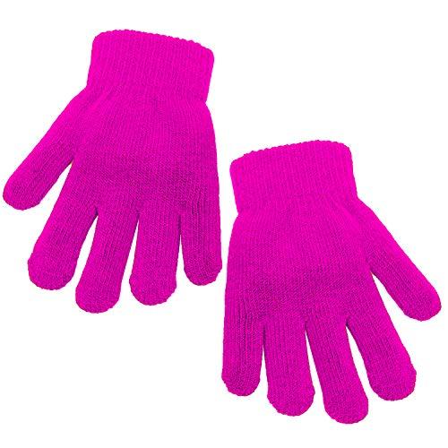 Cooraby Kinder Handschuhe Dicke Winter Strickhandschuhe dehnbar volle Finger Handschuhe Fäustling für Jungen und Mädchen Gr. 4-6 Jahre, hot pink