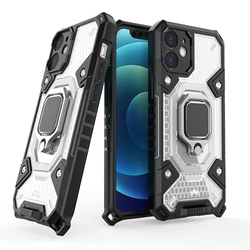 XMTON Funda para iPhone 12 Mini,Armor Protección Carcasa con Anillo Magnético Ajustable de 360 Grados [Protector de Cámara] Antigolpes Fundas Carcasas Case para iPhone 12 Mini (Transparente)