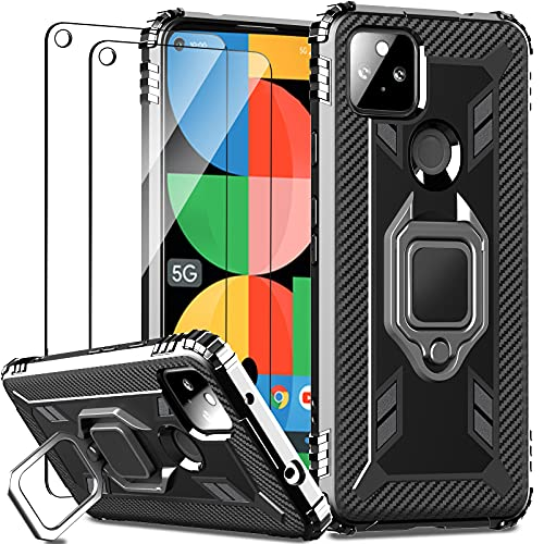 IMBZBK Designed for Google Pixel 5A 5G Case with 2 Pack Tempered Glass Screen Protector, Military Grade Protection Heavy Duty Shockproof Phone Case Cover with 360 Ring Kickstand for Pixel 5A, Black