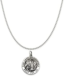Sterling Silver Antiqued Our Lady Of Lourdes Medal on a Sterling Silver Cable, Snake or Ball Chain Necklace