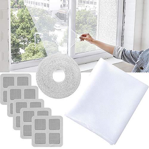 ARTKIVA - Fliegengitter für Fenster,Insektengitter Moskitonetz mit 150 x 200 cm - Insektenschutz Fliegengitter Mückengitter / 1 Klettband/5 Tür & Fenster Bildschirme Patch