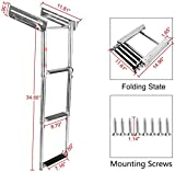 YaeTool 3 Steps Telescoping Ladder Under Platform Slide Mount Boat Boarding Ladder