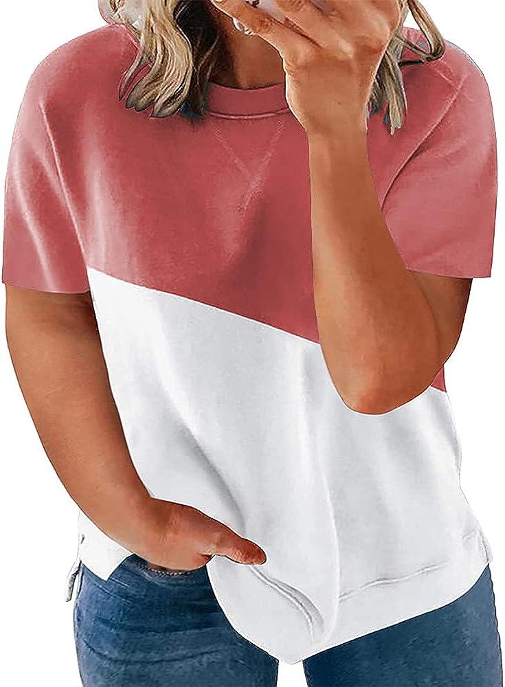 Womens Plus Size T-Shirts Short Sleeve Crewneck Color Block Tee Tops