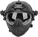 Tactical Airsoft PJ Helmet F22, Casco Protector de Cara Completa con máscara y Gafas Desmontables, Utilizado para Deportes al Aire Libre como Juegos CS