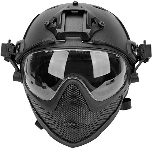 Tactical Airsoft Fast Helmet F22, a Full Face Protective PJ Helmet with Detachable Mask & Goggles