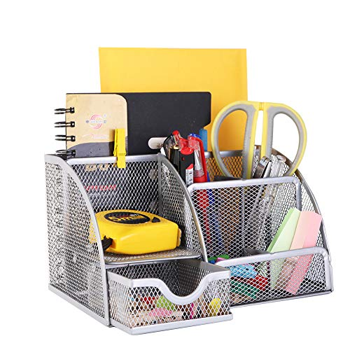 YCOCO Desk Organizer for Office,All in One Desktop Organizer with Note Paper Organizer and Pencil Holder, Silver Metal Mesh Office Organizer for Office Supply and Desk Accessories Organizers