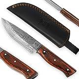 USQUARE UE-016, Cuchillo de Caza de Acero Damasco de 20,32 cm con Funda, Cuchillo de Hoja Fija, Cuchillo bushcraft, Mango de Madera Pakka, Espiga Completa, desarrollado para Caza y Camping