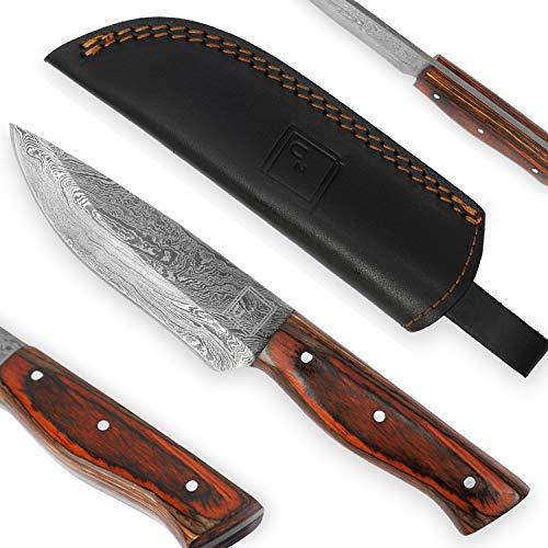 USQUARE UE-016, 20.32 cm Jagdmesser aus Damaststahl mit Scheide, Messer mit Fester Klinge, Bushcraft-Messer, Griff aus Pakka-Holz, Full Tang, entwickelt für Jagd und Camping