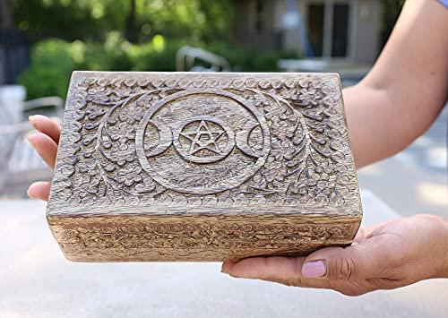 DharmaObjects Triple Moon Hand Carved Jewelry Trinket Keepsake Wooden Storage Box (Triple Moon, Large)