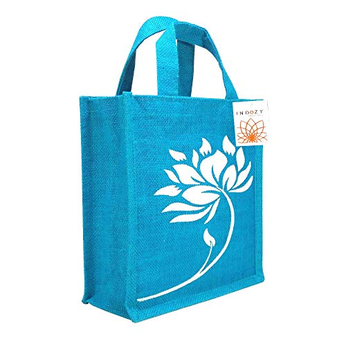 INDOZY Jute Bag for Lunch Tiffin & Gifting | for Men Women Girl boy Kid Office Daily use Handbag | with Zip & 2 Inside Pockets for Spoon/Fork/Tissue/Mobile & Water Bottle (Turqoise Lotus)