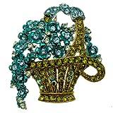 Acosta Brooches, colore: blu ottanio & colore: verde oliva classico con cristalli Swarovski, motivo floreale, gioielli, Pendente-spilla, confezione regalo