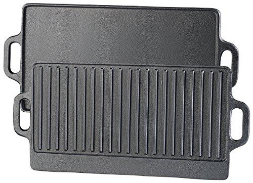Rosenstein & Söhne Gusseisenplatte: Gusseiserne Wende-Grillplatte für Ofen, Herd & Grill, 51 x 23,5 cm (Grillplatte für Elektroherd)