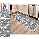 Hciszl Teppich Flur Läufer Grau 40x100cm küchematte Korridor Bettumrandung rutschfest Waschbar Nach Maß Modern 3D-Druckmuster Goldener Diamantfloren Eingangsmatte