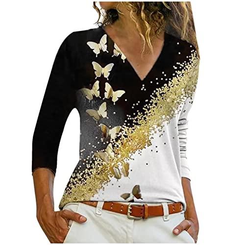 Hevoiok Damen Oberteile Mode Sexy Freizeit Herbst V Ausschnitt Hemdbluse Einfarbig Tasche Langarm Bluse Tops T-Shirt (Schwarzer, L)