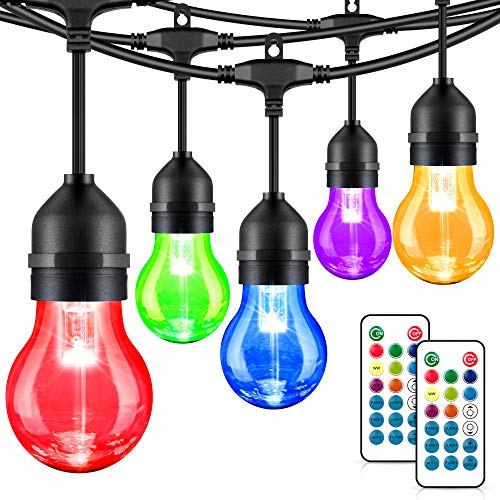 48FT RGB Outdoor String Lights, RGB Cafe LED String Light with 15+3 E26 Shatterproof Dimmable Edison Bulbs, Commercial Grade Light String for Patio Backyard Garden, 2 Remote Controls Included