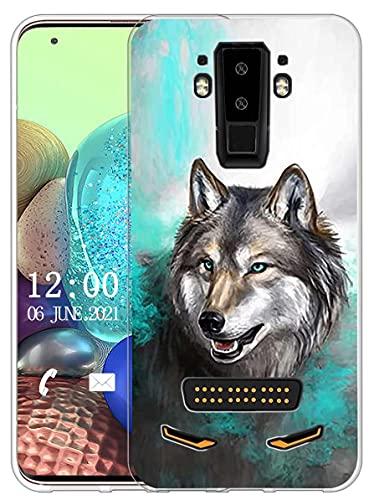 Sunrive Kompatibel mit DOOGEE S90 Hülle Silikon, Transparent Handyhülle Schutzhülle Etui Hülle (X Wolf 1)+Gratis Universal Eingabestift MEHRWEG