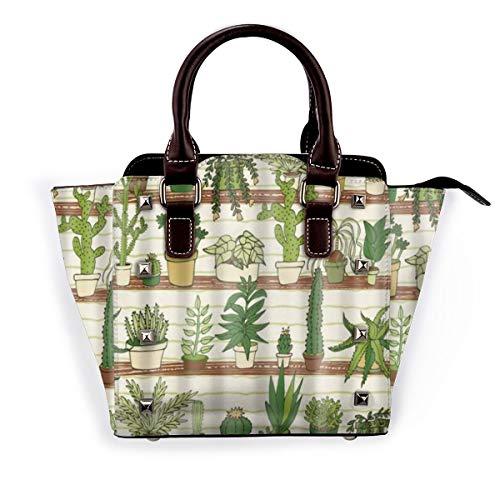 BROWCIN Grüne Karikatur-Pflanze, mexikanische Texas-Kaktus-Pflanzen-Spitzen-Karikatur wie Kunst Abnehmbare mode trend damen handtasche umhängetasche umhängetasche