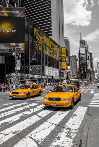 Poster 100 x 150 cm: Yellow Cabs auf dem Time Square 2 von Hannes Cmarits - hochwertiger Kunstdruck, neues Kunstposter