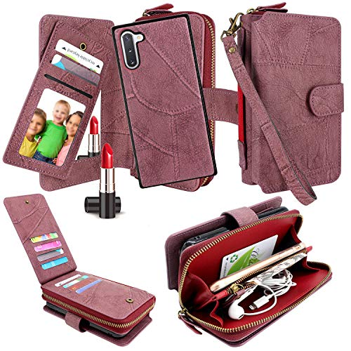 Harryshell Luxury Detachable Magnetic Zipper Wallet Case Clutch Purse with Card Slots Mirror Hand Strap for Samsung Galaxy Note 10 (2019) (Wine)