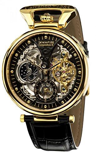 Calvaneo 1583 Herren-Armbanduhr Compendium Gold Analog Automatik Leder schwarz 107909
