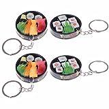 TUANTUAN 4 PCS Funny Sushi Sashimi Roll Food Plate Keychain Keyring Charm Pendant