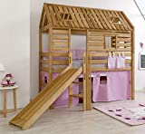 Froschkönig24 Hochbett Tom´s Hütte 1 Kinderbett m Rutsche Spielbett Bett Natur Stoff Rosa/Weiß