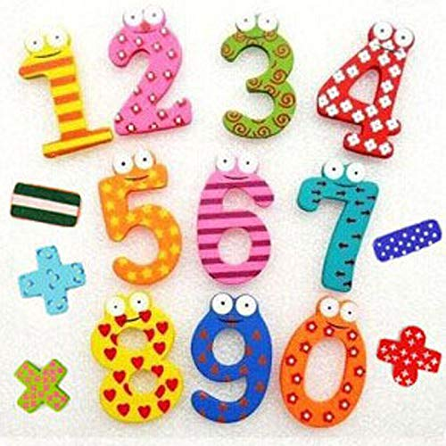 Huixindd Regalo de Fiesta Decoración para el hogar Multicolor de Madera imán de Nevera de Juguete Educativo símbolo Números de Alfabeto Dibujos Animados bebé niño (Cor : 15pcs, Envio de : China)