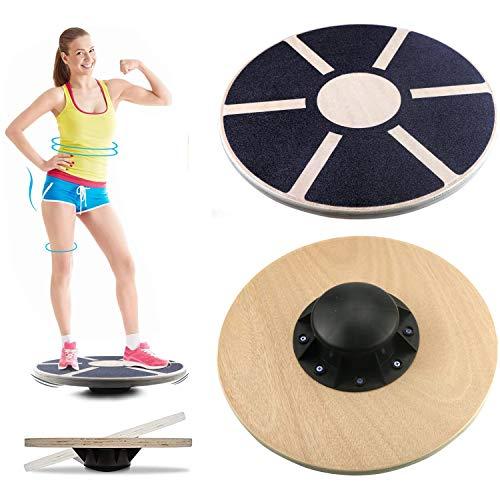 SFJRY® Body & Mind Balance-Board Deluxe Wackelbrett Aus Holz Für Physio-Therapie-Kreisel-Training; Trainiert Gleichgewicht & Koordination