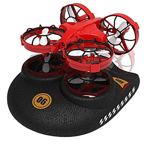 3 En 1 RC para Niños Drone Sea-Land-Air Modo Conmutable Impermeable Hovercraft Toy Quadcopter Mini Drone Un Botón Flip Over Alarma De Baja Presión,Rojo