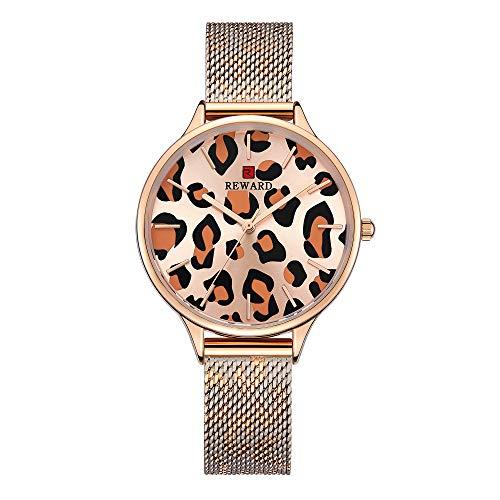 Mujer Relojes, L'ananas 2019 Retro Estampado de Leopardo Banda de Malla Término análogo Cuarzo Relojes de Pulsera con Caja de Regalo Women Watches Wristwatches (Oro Rosa)