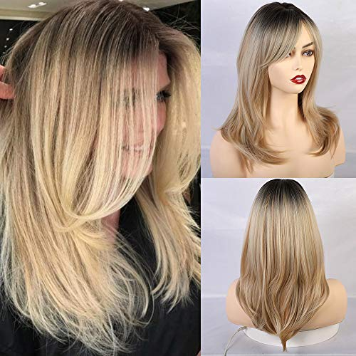 Esmee Synthetic Wigs Long Straight Layered Hairstyle Ombre Black Blonde Gray Ash Full Wigs with Bangs for Black Women or white Women