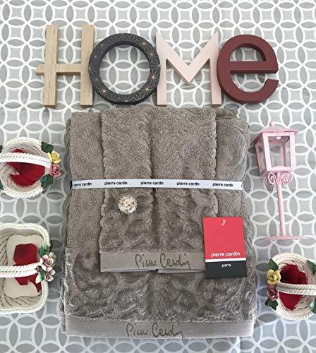 Giosal Pierre Cardin - Juego de toalla de baño con diseño de renacimiento, color gris