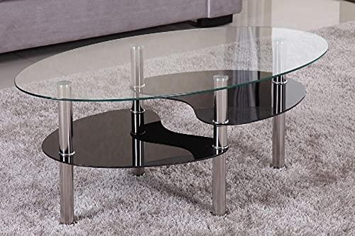 Euro Tische Couchtisch Glas mit 8mm Sicherheitsglas & Facettenschliff - Glastisch perfekt geeignet als Beistelltisch/Wohnzimmertisch (98x58x42cm, Klar/Schwarz)