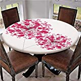 "Elastic Edged Polyester Fitted Table Cover,Conceptual Dandelion Design Bouquet Modern Flower Decorations Gardening Plant Romantic,Fits up 40""-44"" Diameter Tables,The Ultimate Protection for Your Table"