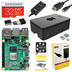 Includes Raspberry Pi 4 4GB Model B with 1.5GHz 64-bit quad-core CPU (4GB RAM) 32GB Samsung EVO+ Micro SD Card (Class 10) Pre-loaded with NOOBS, USB MicroSD Card Reader CanaKit Premium High-Gloss Raspberry Pi 4 Case with Integrated Fan Mount, CanaKit...