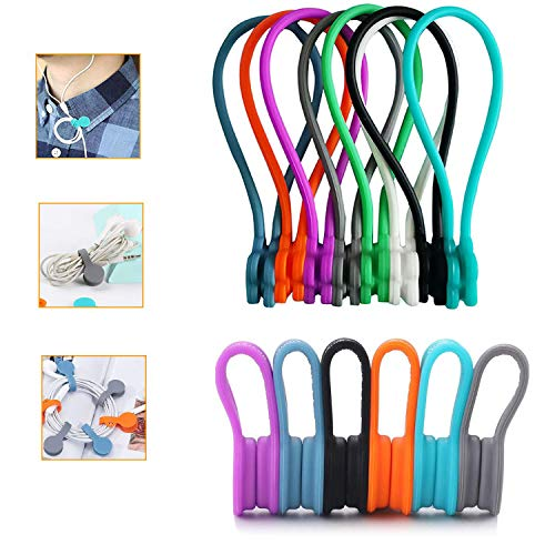 Lote de 14 Clips de Silicona Magnética Para Auriculares - Organizadores de Cable - Enrollador de Cable - Para el Hogar la Oficina