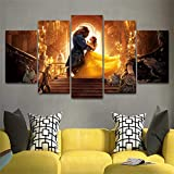 LIVELJ PVC,5 Piece Canvas Prints Art Panels Modern Prints Artwork Set Living Room Giclee Office HD Wall Decoration Home Pendant Large Poster/Beauty and Beast/Frameless